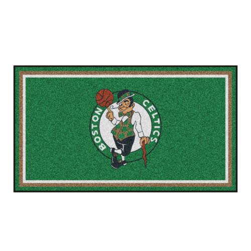 3' x 5' Green and White NBA Boston Celtics Rectangular Plush Area Throw Rug - IMAGE 1