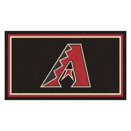 3' x 5' Brown and Red MLB Arizona Diamondbacks Rectangular Plush Area Throw Rug - IMAGE 1