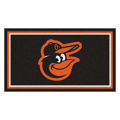 3' x 5' Black and Orange MLB Baltimore Orioles Rectangular Plush Area Throw Rug - IMAGE 1