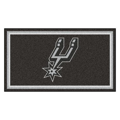 3' x 5' Black and White NBA San Antonio Spurs Rectangular Plush Area Throw Rug - IMAGE 1