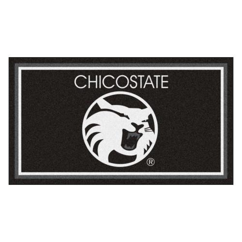 3' x 5' Black and White NCAA California State Chico Wildcats Rectangular Plush Area Throw Rug - IMAGE 1