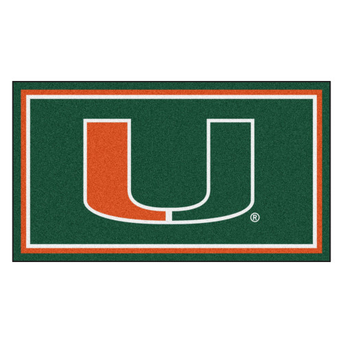 3' x 5' Green and Orange NCAA Miami Hurricanes Rectangular Plush Area Throw Rug - IMAGE 1