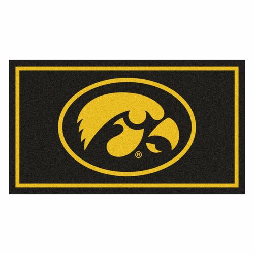 3' x 5' Black and Yellow NCAA Iowa Hawkeyes Rectangular Plush Area Throw Rug - IMAGE 1
