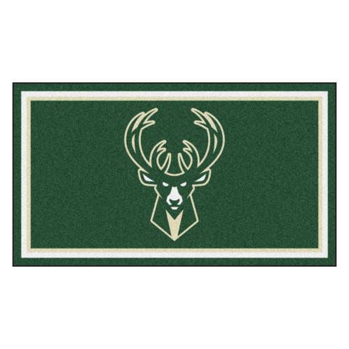 3' x 5' Green and White NBA Milwaukee Bucks Rectangular Plush Area Throw Rug - IMAGE 1