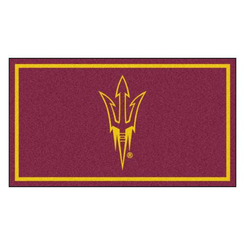 3' x 5' Maroon and Yellow NCAA Arizona State Sun Devils Rectangular Plush Area Throw Rug - IMAGE 1