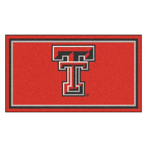 3' x 5' Red and Black NCAA Texas Tech Red Raiders Rectangular Plush Area Throw Rug - IMAGE 1