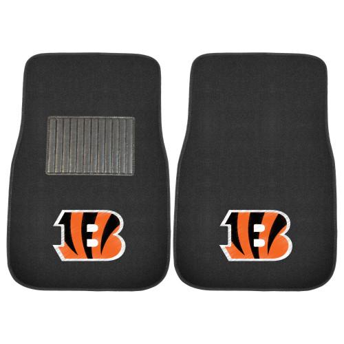 "Set of 2 Orange and Black NFL Cincinnati Bengals Embroidered Car Mats 21"" x 27"" - IMAGE 1"