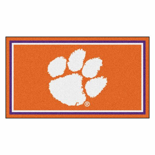 3' x 5' Orange and White NCAA Clemson Tigers Rectangular Plush Area Throw Rug - IMAGE 1