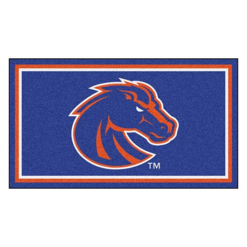 3' x 5' Violet and Orange NCAA Boise State Broncos Rectangular Plush Area Throw Rug - IMAGE 1