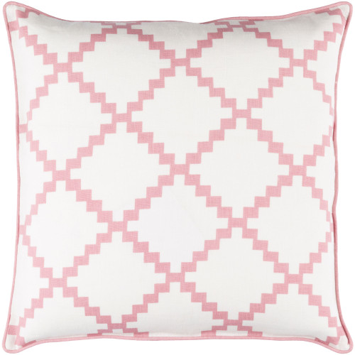 """20"""" White and Pink Geometric Square Throw Pillow Cover - IMAGE 1"""
