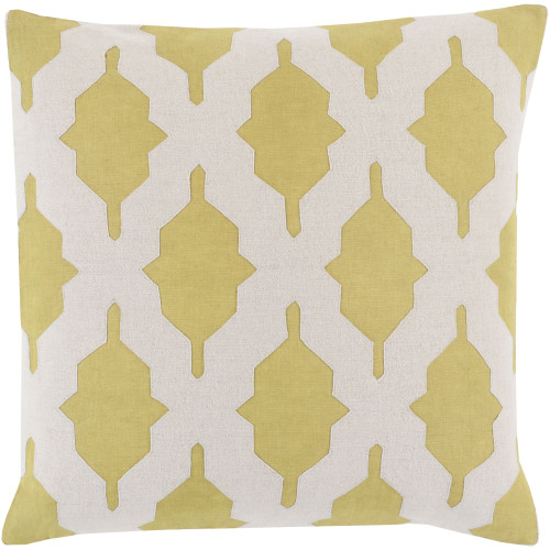"""22"""" Lime Green and Khaki Brown Contemporary Square Throw Pillow Cover - IMAGE 1"""