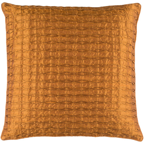 "22"" Burnt Orange Contemporary Square Throw Pillow Cover - IMAGE 1"