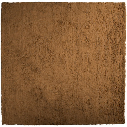 8' Brown Solid Square New Zealand Wool Area Throw Rug - IMAGE 1