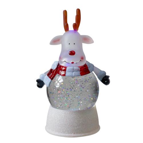 8.25 Reindeer LED Lighted Swirling Glitter Water Globe Christmas Tabletop Decoration - IMAGE 1