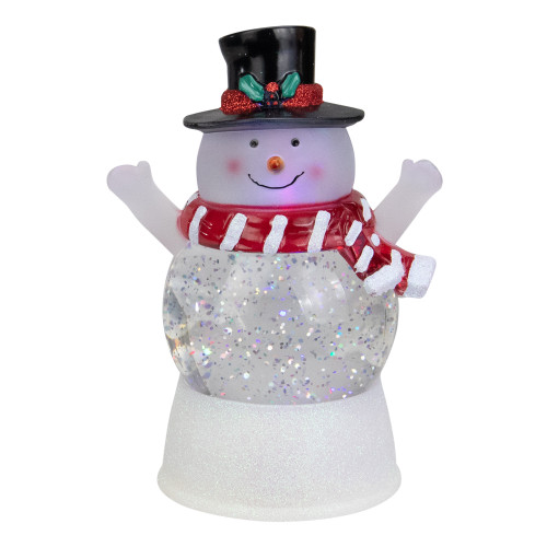"""7"""" LED Lighted Snowman With Holly and Berries Top Hat Blowing Glitter Christmas Water Globe - IMAGE 1"""