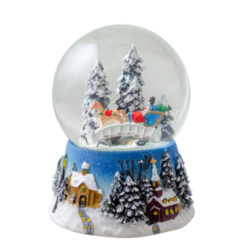 6 Musical Winter Forest Sleigh Ride Christmas Snow Globe Tabletop Decoration - IMAGE 1