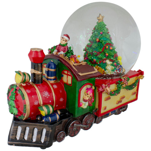 8 Christmas Train with Tree Musical Snow Globe Tabletop Decoration - IMAGE 1