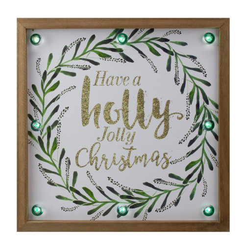 """11.75"""" Lighted """"Holly Jolly"""" with a Green Wreath Wood Christmas Plaque - IMAGE 1"""