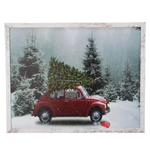 "19"" White Distressed Frame Red Vintage VW Car LED Lighted Christmas Canvas - IMAGE 1"