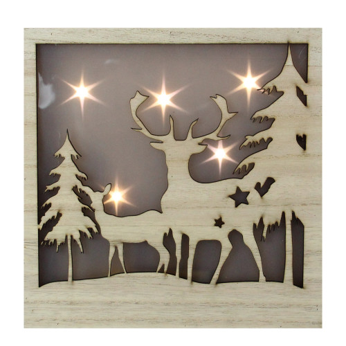 LED Lighted Buck and Doe Silhouette Wood Christmas Wall Plaque - IMAGE 1