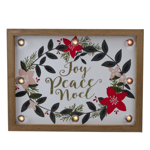 """11.8"""" Brown Framed Floral """"Joy, Peace, Noel"""" Wooden Christmas Wall Plaque - IMAGE 1"""