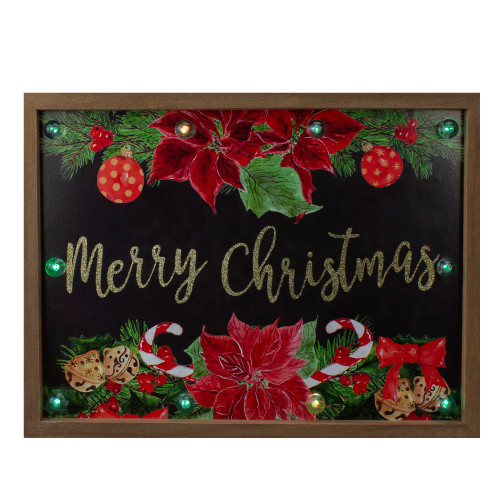 """15.75"""" Brown """"Merry Christmas"""" with Poinsettias Wooden Christmas Plaque - IMAGE 1"""