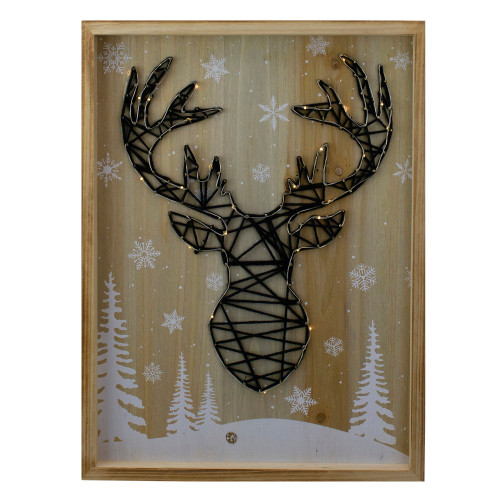 """15.75"""" Lighted Wooden Reindeer String Art Christmas Wall Hanging - IMAGE 1"""