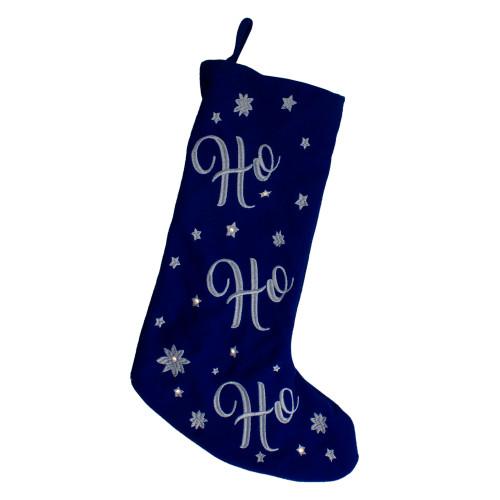 """18"""" LED Blue Stocking """"Ho, Ho, Ho"""" with White Snowflakes - IMAGE 1"""