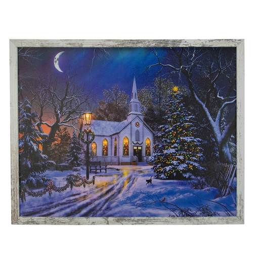 """LED Lighted Church at Night Framed Christmas Canvas Wall Art  19"""" x 15"""" - IMAGE 1"""