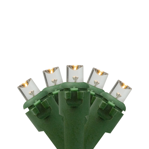 50 Battery Operated Warm White LED Wide Angle Christmas Lights - 24.5 ft Green Wire - IMAGE 1