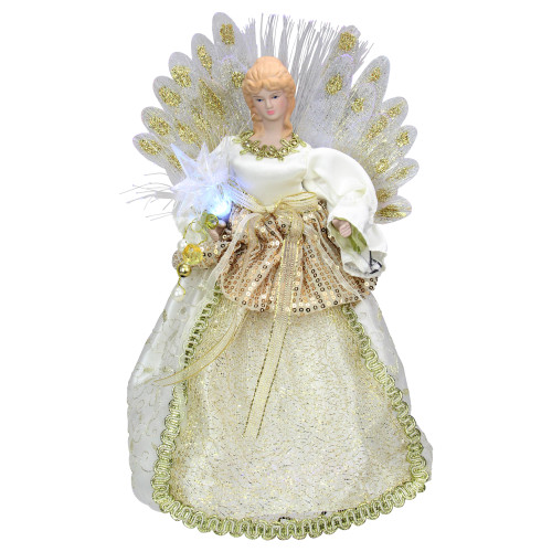 "14"" Lighted Gold and Ivory Angel Tree Topper - Multicolor Fiber Optic Lights - IMAGE 1"