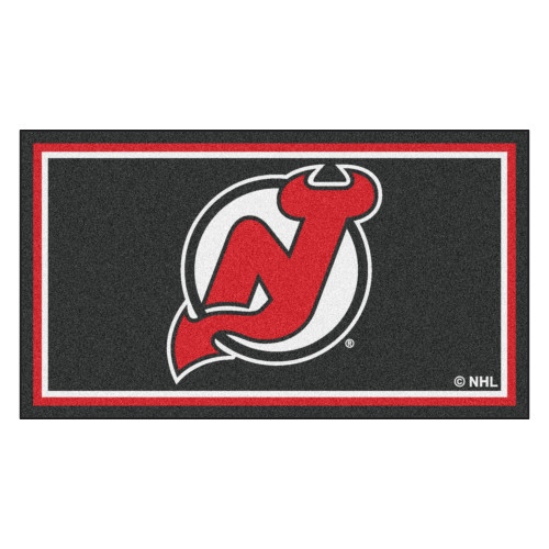 3' x 5' Black and Red NHL New Jersey Devils Rectangular Plush Area Throw Rug - IMAGE 1