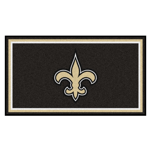 3' x 5' Brown and Ivory NFL New Orleans Saints Rectangular Plush Area Throw Rug - IMAGE 1
