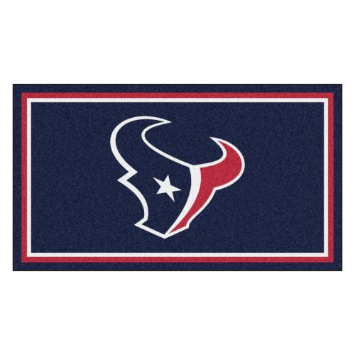 3' x 5' Blue and Red NFL Houston Texans Rectangular Plush Area Throw Rug - IMAGE 1