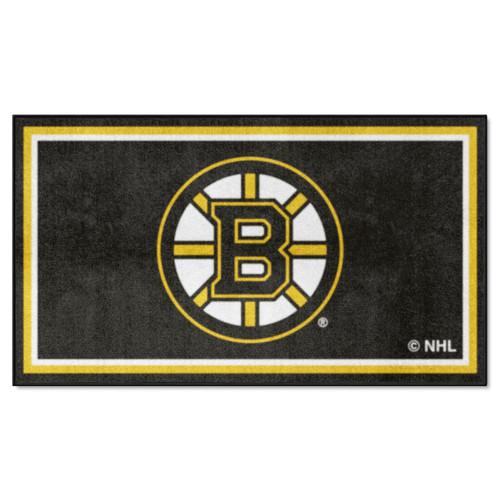 3' x 5' Black and Yellow NHL Boston Bruins Rectangular Plush Area Throw Rug - IMAGE 1