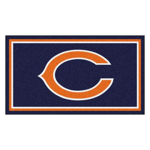 3' x 5' Orange and Blue NFL Chicago Bears Rectangular Plush Area Throw Rug - IMAGE 1