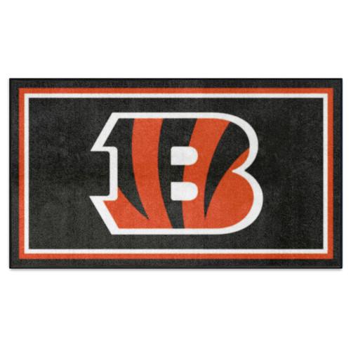 3' x 5' Orange and Black NFL Cincinnati Bengals Rectangular Plush Area Throw Rug - IMAGE 1