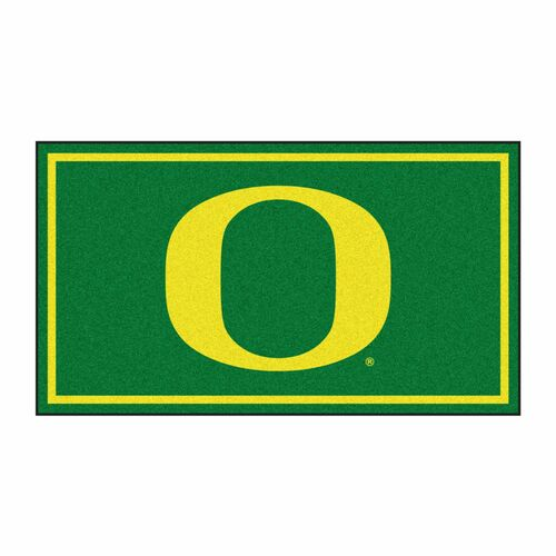 3' x 5' Green and Yellow NCAA Oregon Ducks Rectangular Plush Area Throw Rug - IMAGE 1