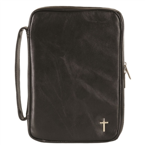 "9.5"" Black and Silver Religious Themed Cross Embedded Large Zippered Bible Cover - IMAGE 1"