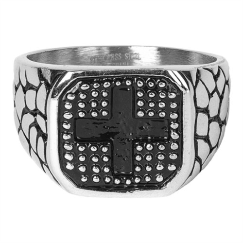 Black and Silver Religious Themed Square Shaped Ring with Cross - IMAGE 1
