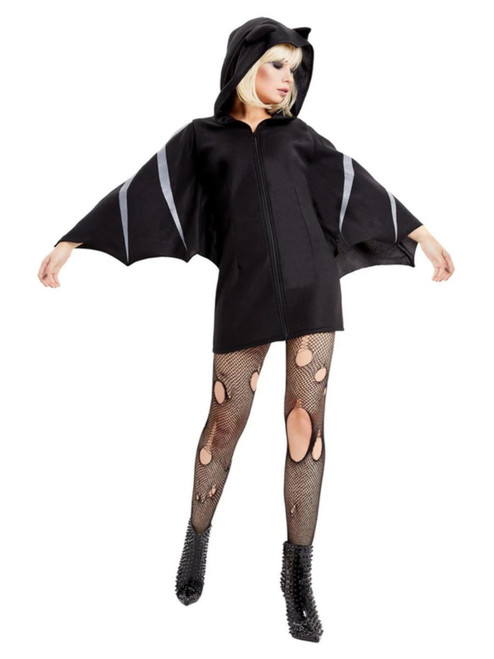 Black and Gray Bat Women Adult Halloween Costume - Small - IMAGE 1