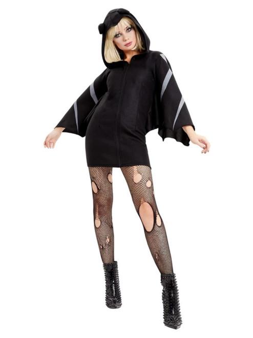 Black and Gray Bat Women Adult Halloween Costume - Medium - IMAGE 1