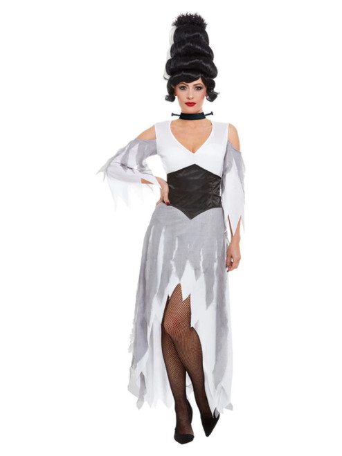 Black and White Gothic Bride Women Adult Halloween Costume - Small - IMAGE 1