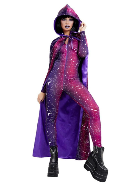 Purple and White Galactic Witch Cape Women Adult Halloween Costume Accessory - One Size - IMAGE 1