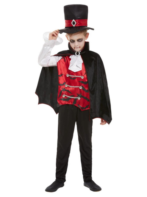 """40"""" Red and Black Vampire Boy Child Halloween Costume - Small - IMAGE 1"""
