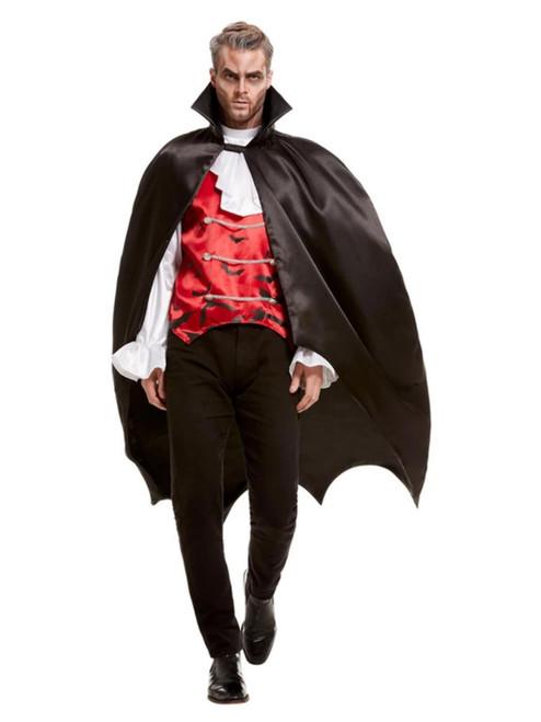 Black Vampire Bat Men Adult Halloween Cape Costume Accessory - One Size - IMAGE 1
