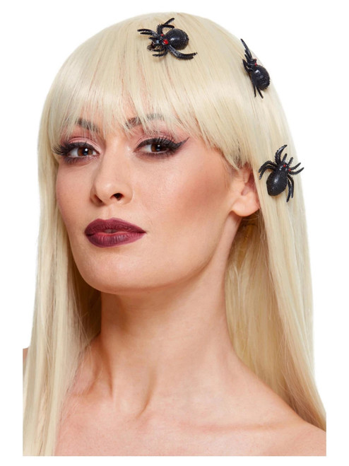 """19"""" Black and Red Spider Women Adult Halloween Hair Clips Costume Accessories - One Size - IMAGE 1"""
