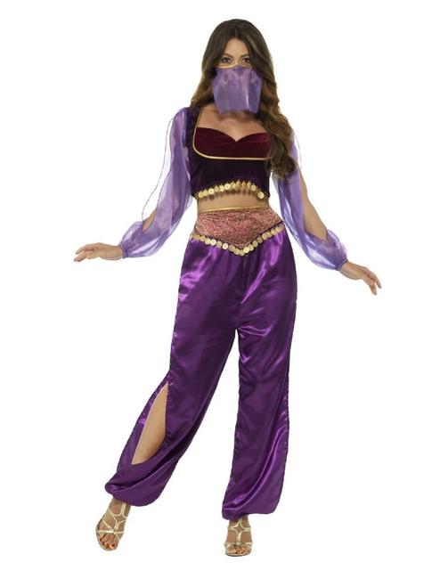 "42.5"" Purple and Red Arabian Princess Women Adult Halloween Costume - XS - IMAGE 1"