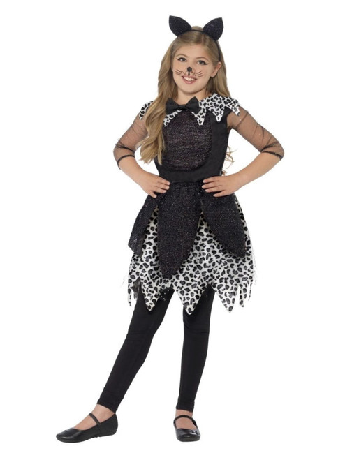 Black and White Deluxe Midnight Cat Girl Child Halloween Costume - Large - IMAGE 1