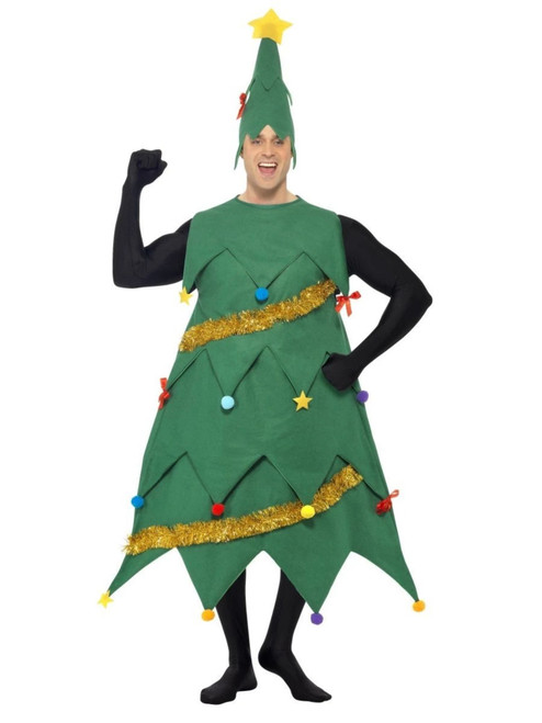 """44"""" Green and Black Deluxe Men Adult Christmas Tree Shaped Costume - IMAGE 1"""